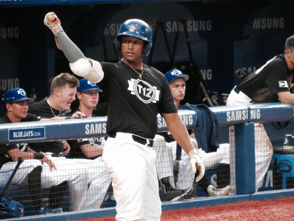 Ontario Blue Jays C-3B Noah Naylor (Mississauga, Ont.) did not see a lot of strikes to hit during Tournament 12 but still earned high marks as the best in the building from the Blue Jays alumni on hand. Photos: Tyker King.