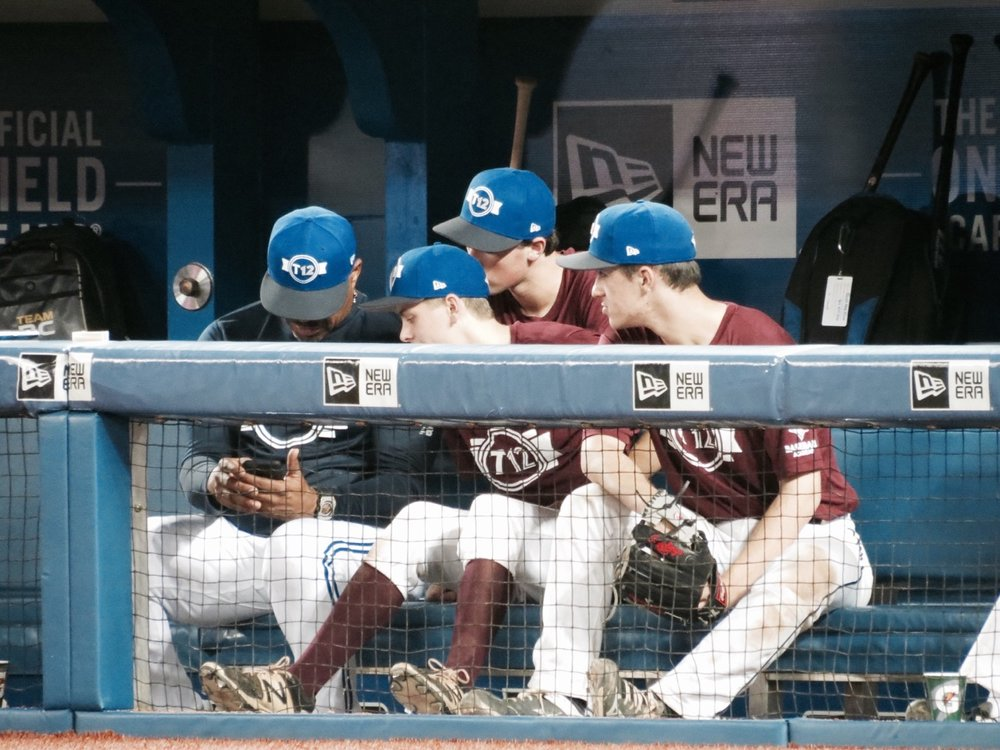 When you're a young Canadian baseball prospect and Jesse Barfield sits next to you in the dugout . . .   This is one of my favourite images from this year's Tournament 12 played at Rogers Centre last weekend. This was snapped by Canadian Baseball Network contributor Tyler King.