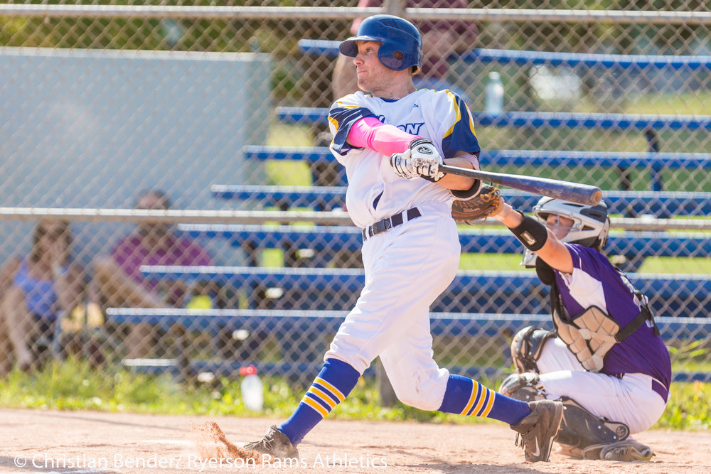Ryerson Rams designated hitter Jesse Fishbaum homered to lead his club to a 9-1 win over the Western Mustangs in the first game of a doubleheader on Saturday. Photo Credit: Christian Bender, Ryerson Rams Athletics