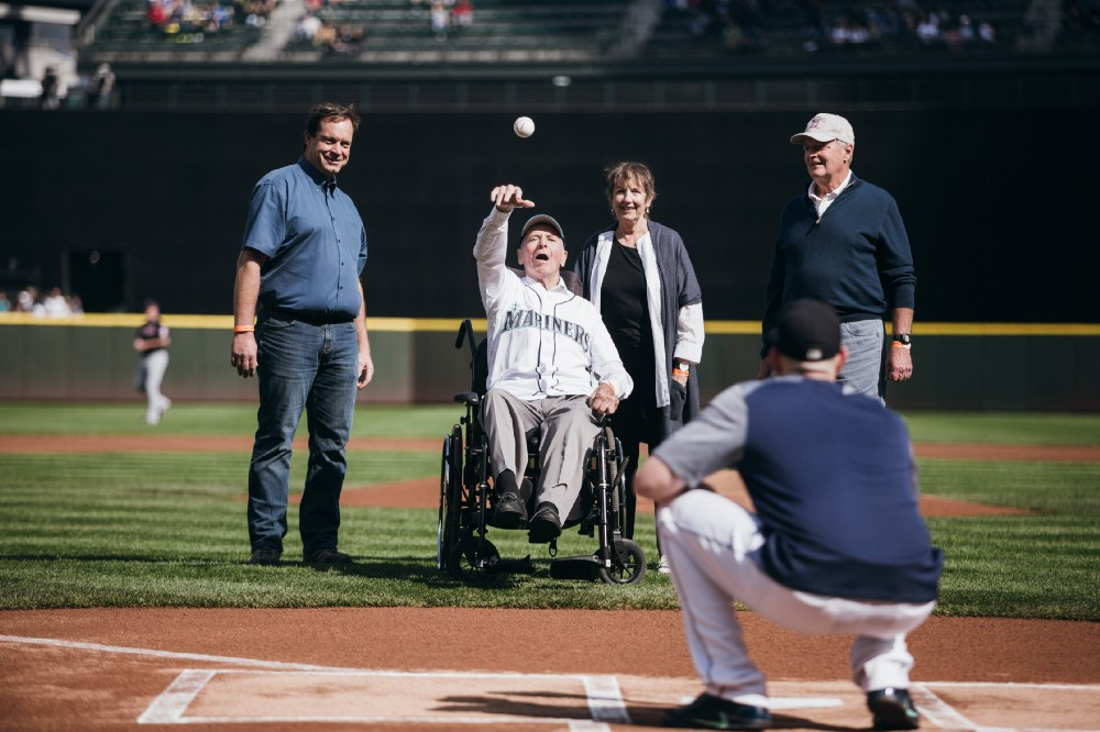 Scouting legend and Canadian Baseball Hall of Famer Wayne Norton (Port Moody, B.C.) throws out the first pitch to James Paxton (Ladner, B.C.) at Safeco Field prior to Saturday's Seattle Mariners game. Photo Credit: Seattle Mariners Baseball Information Department