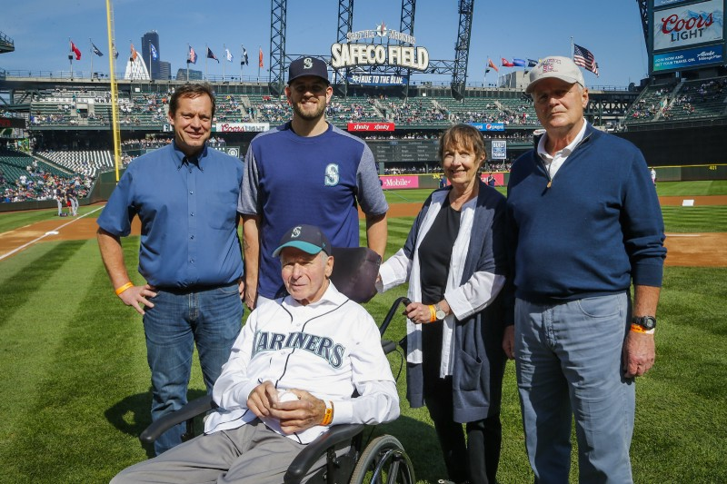 Posing for the post first-pitch group shot are Steve Norton, Wayne and Trudy`s son, James Paxton (Ladner, BC), Trudy Norton and Ian Dickson, Wayane`s friend for more than 50 years. Strike One Norton is in the  front row.   Photo Credit: Seattle Mariners Baseball Information Department