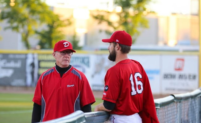 Okotoks Dawgs coaching legend and former Canadian and Italian National team coach, David Robb (left), will be inducted into the Dawgs' Hall of Fame in January. Photo Credit: Okotoks Dawgs