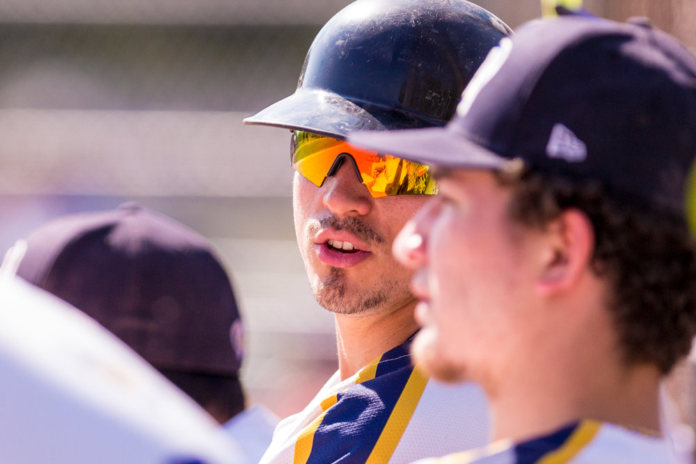 Ryerson Rams catcher Chris Aubin had a pair of RBI singles in the first game of Sunday's doubleheader. Photo Credit: Christian Bender