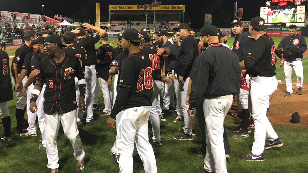 The Vancouver Canadians celebrate after winning the Northwest League championship. Photo Credit: Vancouver Canadians