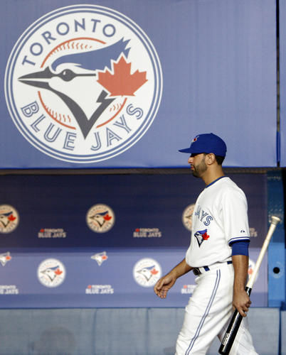 Jose Bautista models the new 2012 Blue Jays uniform. Photo: Dave Abel.