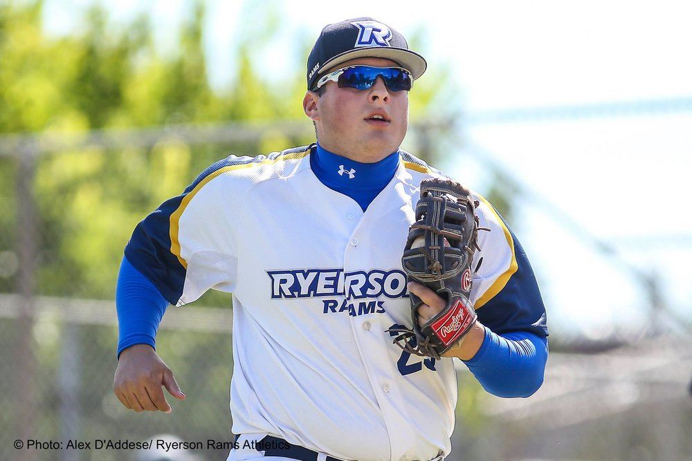 Aidan Dolan went 3-for-8 for the Ryerson Rams in their doubleheader on Saturday. Photo Credit: Alex D'Addese