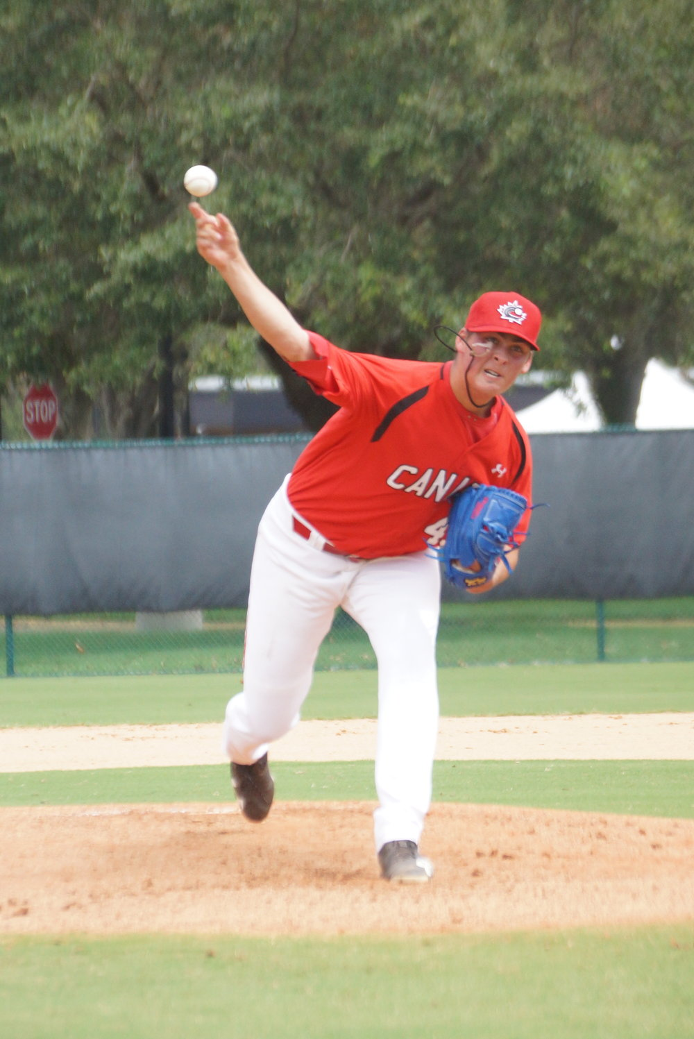 Ontario Terriers right-hander Ben Abram (Georgetown, Ont.) pitched three scoreless innings for the Canadian Junior National Team on Monday. Photo Credit: Eddie Michels