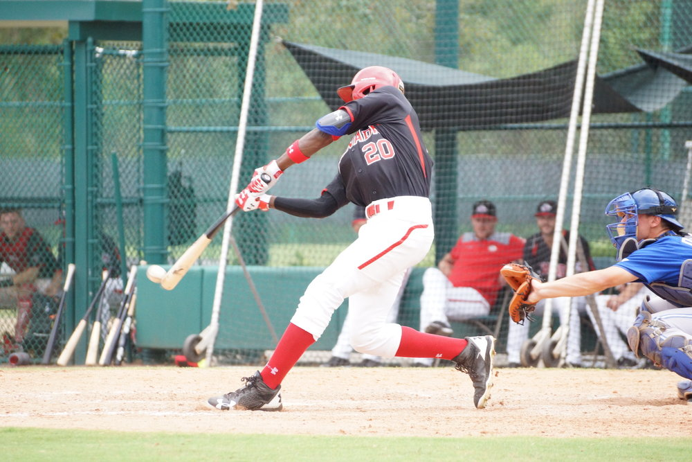 Toronto Mets outfielder Denzel Clarke (Pickering, Ont.) recorded an RBI single for the Canadian Junior National Team on Tuesday. Photo Credit: Eddie Michels