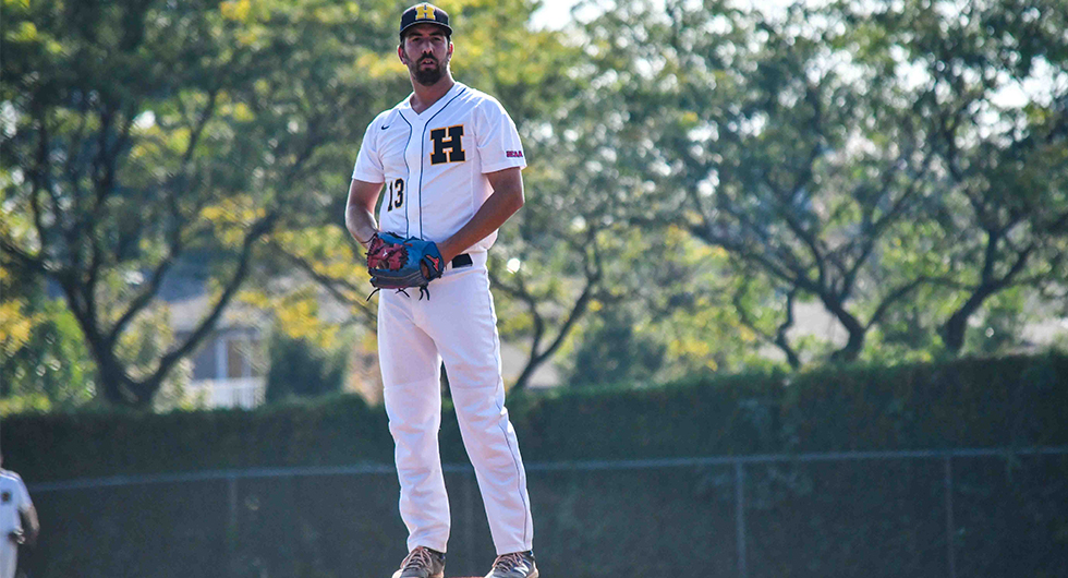 Right-hander Steven Hough earned a complete-game win for the Humber Hawks in the first game of Sunday's doubleheader against the St. Clair Saints. Photo Credit: Humber Athletics