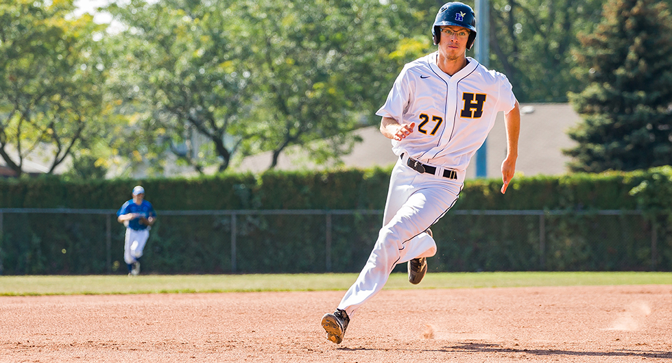 Liam Sutherland had a clutch two-run single for the Humber Hawks on Tuesday in their win in the first game of a doubleheader against the George Brown Huskies. Photo Credit: Humber Athletics