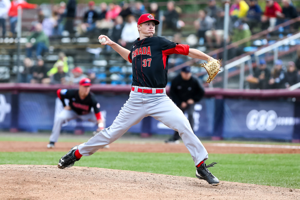 Great Lake Canadians right-hander Eric Cerantola (Oakville, Ont.) started and pitched three innings for the Junior National Team against a team of Atlanta Braves prospects on Friday. Photo Credit: Christian J. Stewart