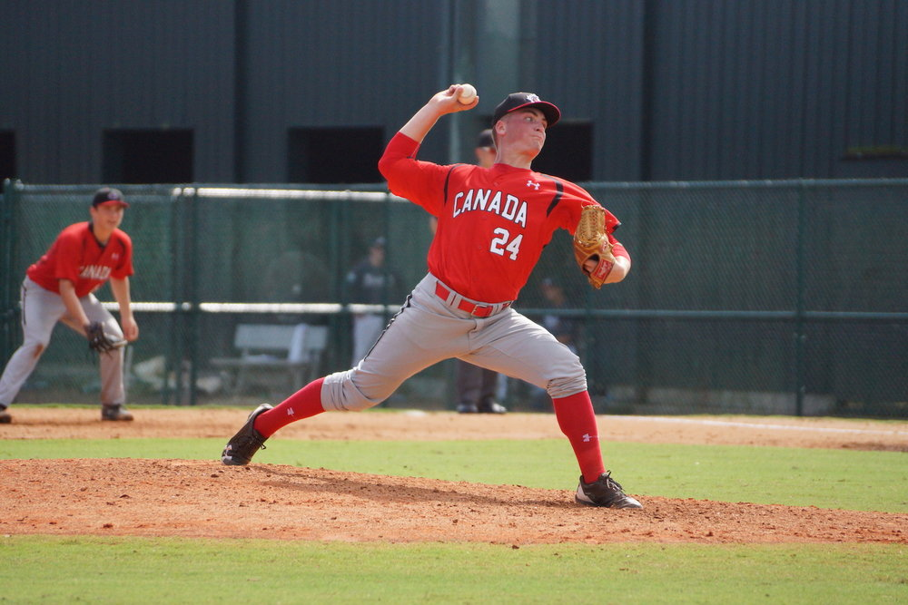 Ontario Terriers right-hander Ben Abram (Georgetown, Ont.) fired four perfect innings for the Canadian Junior National Team against a squad of Atlanta Braves prospects on Saturday. Photo Credit: Eddie Michels