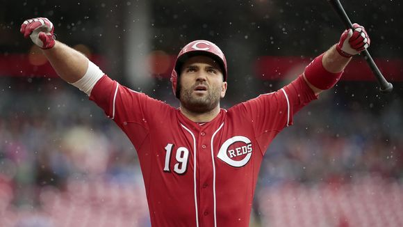 Etobicoke, Ont., native Joey Votto has been named a finalist for the National League's 2017 Hank Aaron Award. Photo Credit: The Enquirer/Sam Greene