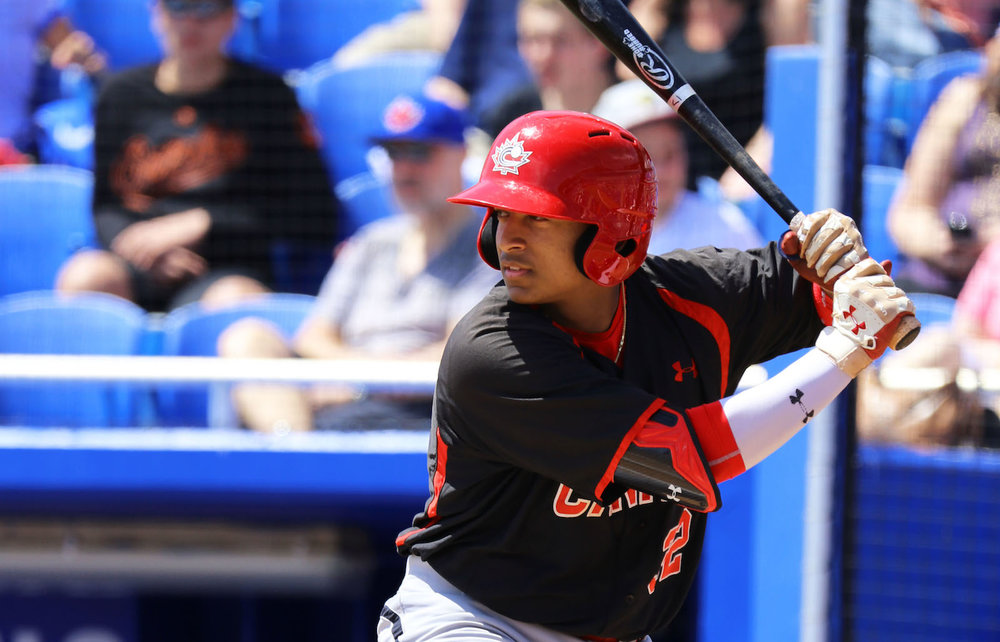 Ontario Blue Jays catcher Noah Naylor (Mississauga, Ont.) had a double and a single and drove in a run for the Junior National Team against a team of Toronto Blue Jays' prospects in Dunedin, Fla., on Tuesday. Photo Credit: Amanda Fewer
