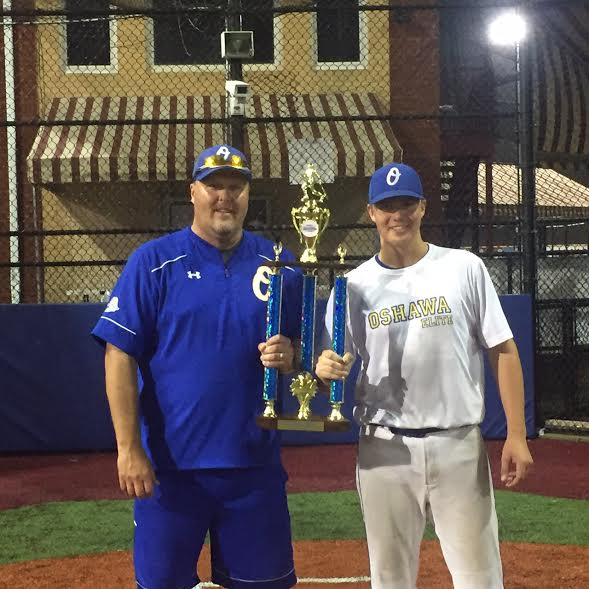 Oshaawa coach Ken Babcock and Braden Babcock who pitched two complete games striking out 27 in 14 innings.