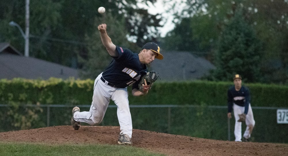 Right-hander Tyler Greenwood tossed seven shutout innings to lead the Humber Hawks to a 6-0 win in the first game of Friday's doubleheader against the Seneca Sting. Photo Credit: Humber Athletics