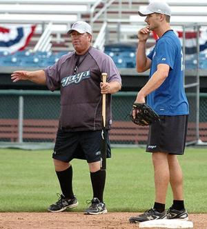 Blue Jays coaching legend Dennis Holmberg  with Randy Schwartz