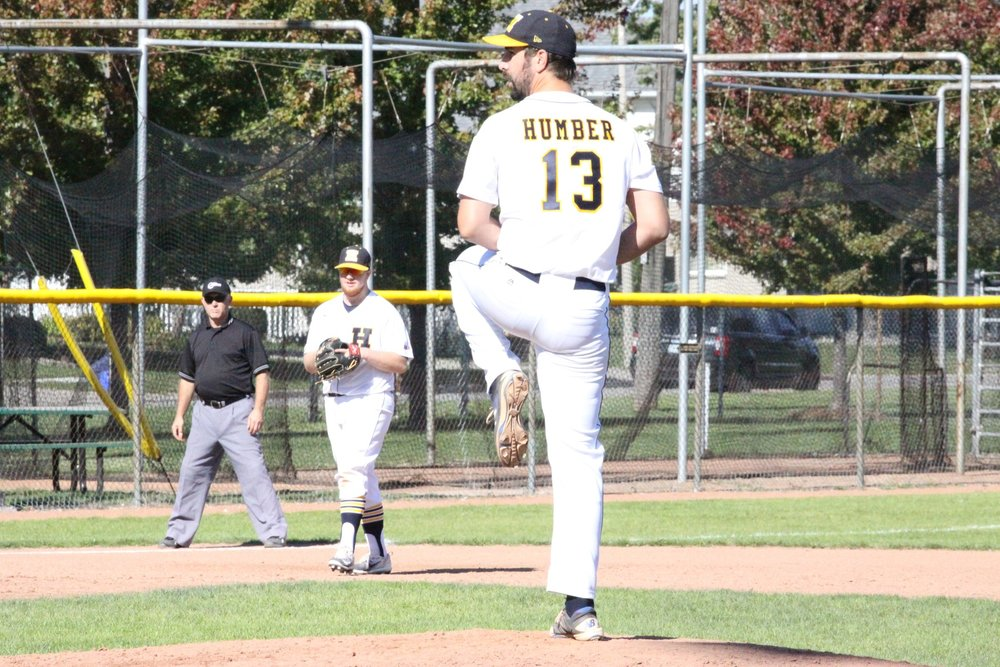 Right-hander Steven Hough threw a complete-game, five-hitter in the Humber Hawks' 6-1 win over the Durham Lords on Friday. Photo Credit: Humber Athletics