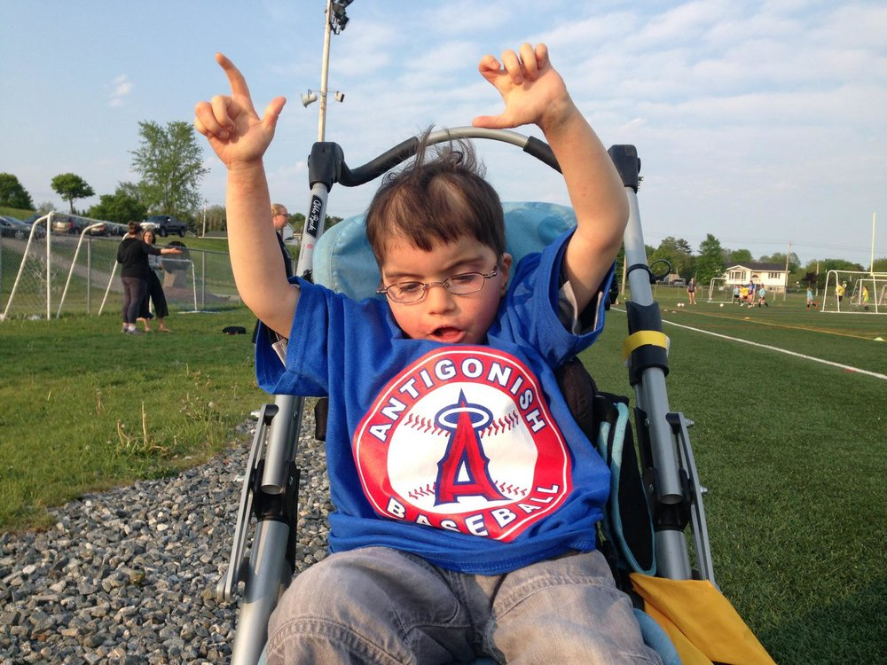 Six-year-old Will MacNeil, who is from Antigonish, N.S., enjoys playing Challenger Baseball. Photo Credit: Tiffany MacNeill