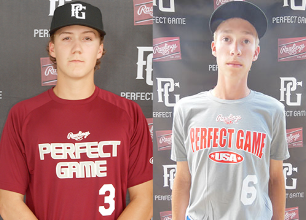RHP Brett Jackson (left) of the Abbotsford Cardinals and OF Ryan Santos of the Ontario Blue Jays made the Rawlings prospect list at the Perfect Game Top Prospect Showcase. Tyler King imaging.