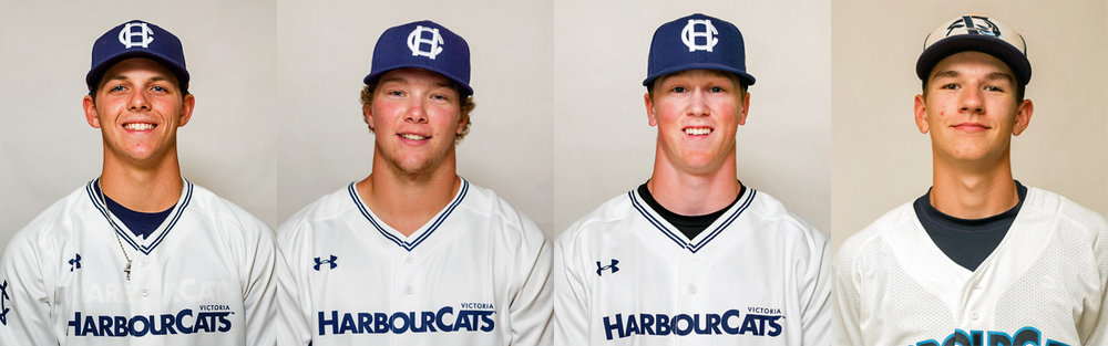 Left to right: Hunter Vansau (Mississippi State), Tanner Rempel (Abbotsford, B.C.), Ethan Fox (Campbell River, B.C.) and Jason Willow (Victoria, B.C.) are the first four players that the Victoria HarbourCats have signed for the 2018 season. Photo Credit: Victoria HarbourCats