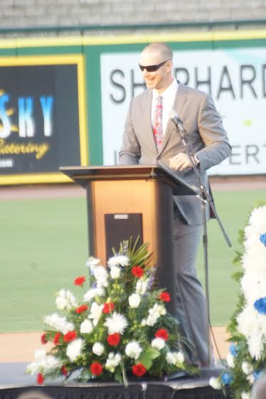 Chris Carpenter, one of Halladay's best pals, gave a great speech. Photo: Eddie Michels.