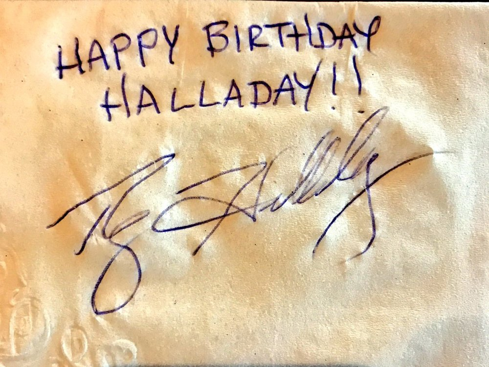 Halladay sends Halladay birthday wishes