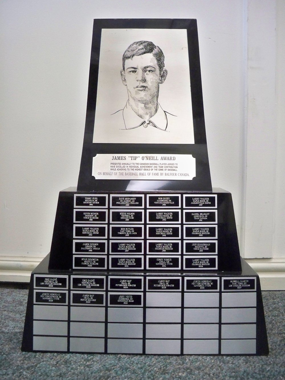 The Canadian Baseball Hall of Fame hands out the Tip O'Neill Award to the top Canadian player each year. Photo Credit: Canadian Baseball Hall of Fame