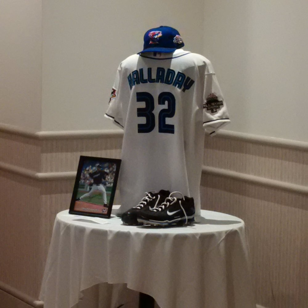 The silent tribute to the late great Roy Halladay at the Canadian Baseball History Symposium in St. Marys, Ont., this weekend. Photo Credit: Scott Crawford, Canadian Baseball Hall of Fame