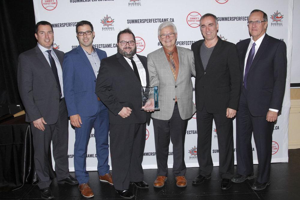 Baseball Canada president Jason Dickson, left, along with Yannick Desjardins, Steve Duchesneau, Jean Boulais, Stephane DuPont and Don Paulencu Photo: Baseball Canada