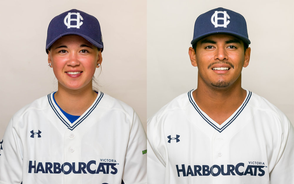 The Victoria HarbourCats of the collegiate West Coast League have re-signed Claire Eccles (left) and Ethan Lopez (right) for the 2018 season. Photo Credit: Victoria HarbourCats