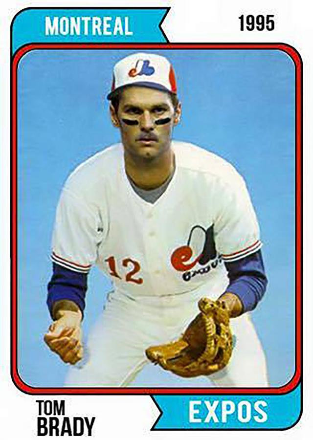 New England Patriots superstar quarterback Tom Brady was drafted by the Montreal Expos in 1995. Brady posted this image of him in the style of a 1974 Topps baseball card on his Facebook page on June 2, 2016 to commemorate the 21st anniversary of him being drafted by the Expos.