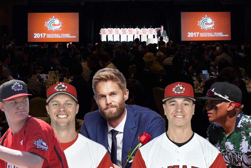 Montreal native Chris Leroux (middle with rose), star of The Bachelor Canada, will be one of the alumni returning for Baseball Canada's National Teams Awards Banquet and Fundraiser on January 13. Photo Credit: Baseball Canada