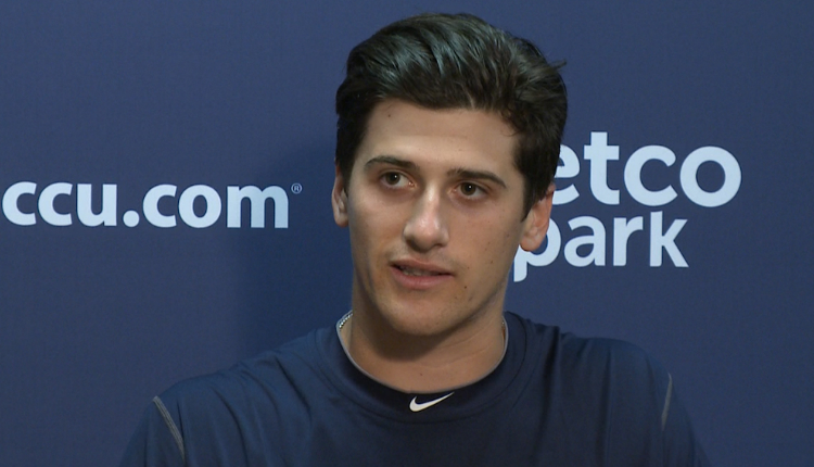 Former Ontario Terriers' RHP Cal Quantrill (Port Hope, Ont.) talks some ball at Petco Park. Photo: Mighty 1090.