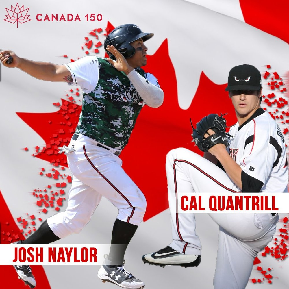 The class-A Lake Elsinore Storm paid homage to the two Canucks on Canada's 150th birthday.