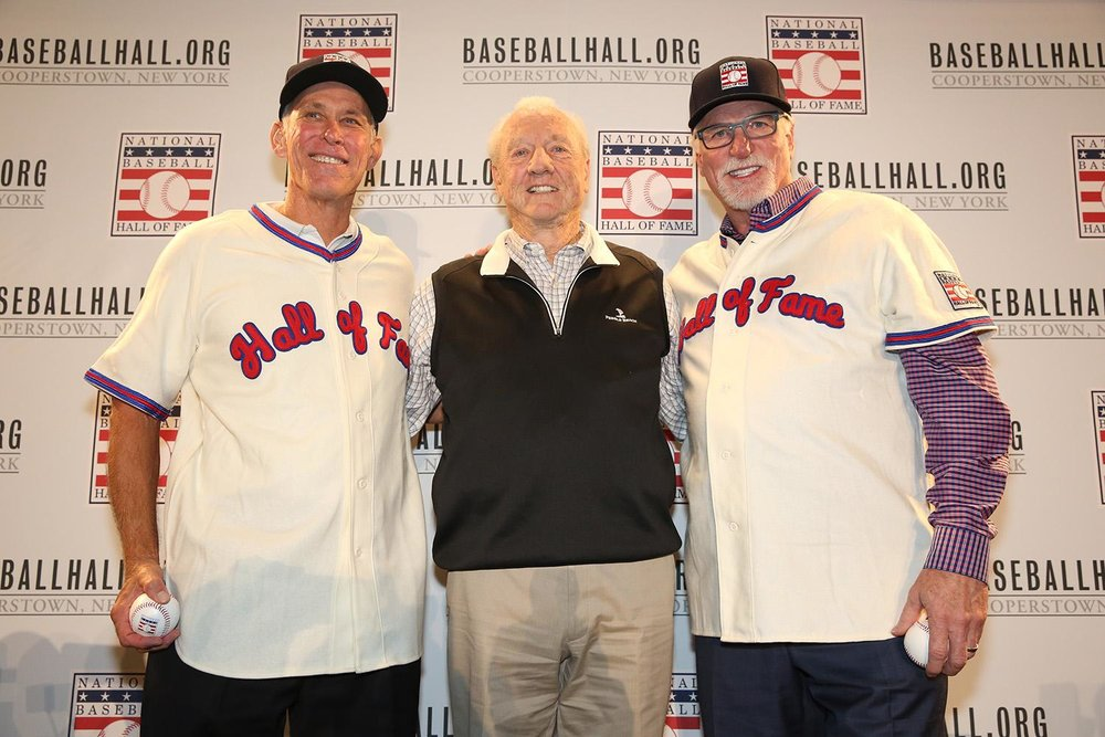 Tiger, Tiger burning bright: New Hall of Famers, Alan  Trammell, left, and Jack Morris, right, are joined by Tiger HOFer Al Kaline. Photo: Alex Trautwig, MLB Photos.
