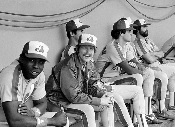 Actor/director Ron Howard is second from left in this photo taken in 1982 when he suited up in an Montreal Expos' uniform at Dodger Stadium. At left is Dan Norman and down on right in view are Scott Sanderson and Jeff Reardon. Photo Credit: Sports Illustrated