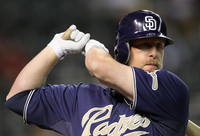 This winter Matt Stairs is coaching defencemen for the Fredericton High School Black Kats. It won't be long before he's teaching San Diego hitters as their Padres new hitting coach. Photo: USA Today.