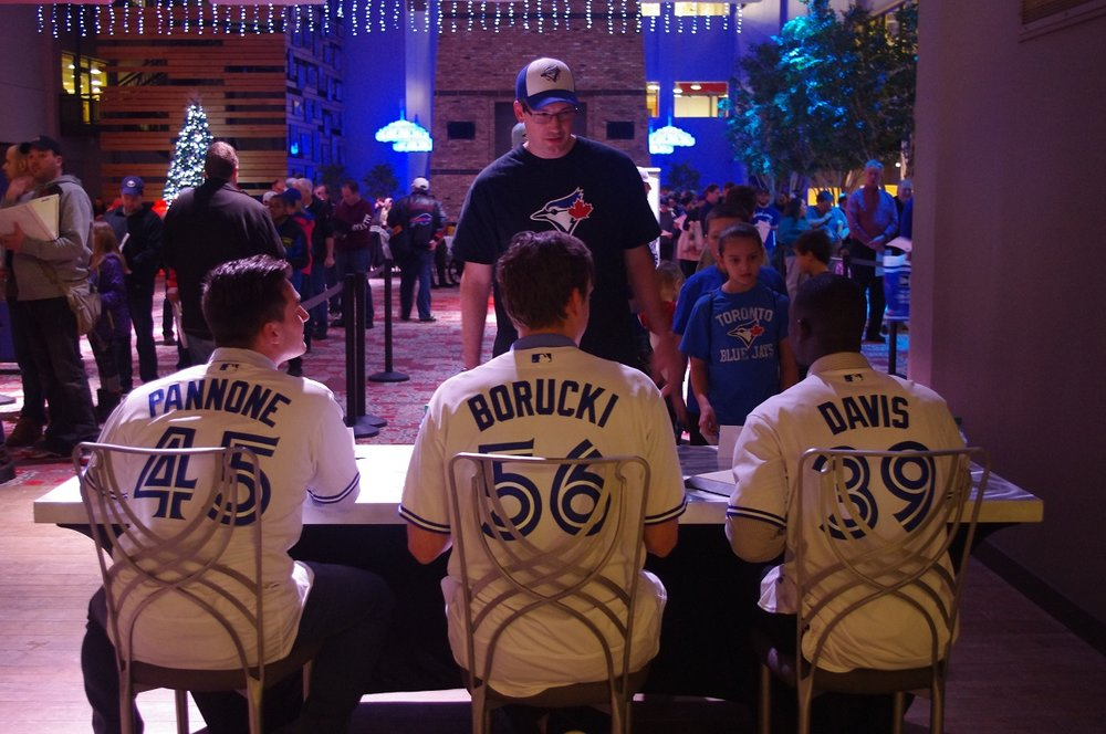 Fans lined up in Buffalo, home of the Toronto Blue Jays' triple-A affiliate, to meet some of the team's top prospects on Wednesday. Photo Credit: Jay Blue