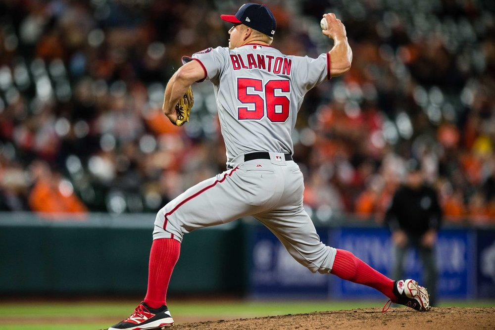 With Dominic Leone dealt to the St. Louis Cardinals, free agent right-hander Joe Blanton might be a fit for the Toronto Blue Jays' bullpen. Photo Credit: Patrick McDermott/USA Today Sports