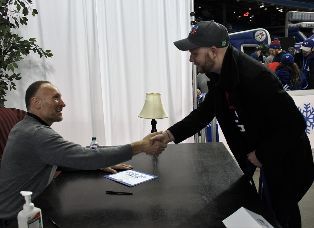 "Dave Lock was one of the fans that got to meet Toronto Blue Jays president Mark Shapiro and become a ""Blue Jay for a Day"" at Winter Fest at Rogers Centre on Saturday. Photo Credit: Melissa Verge"