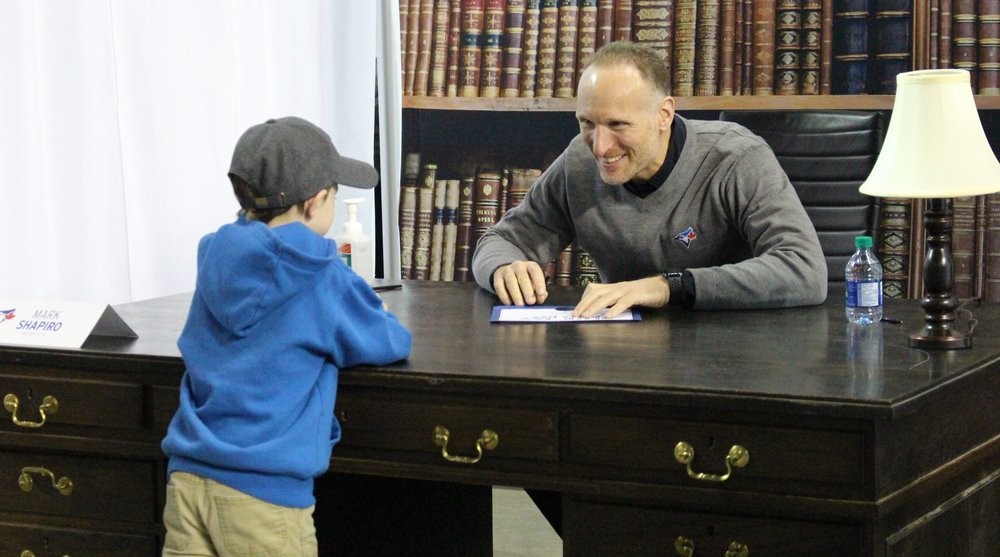 "This youngster was another fan who became a ""Blue Jay for a Day"" on Saturday after meeting Blue Jays president Mark Shapiro. Photo Credit: Melissa Verge"