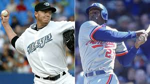 Roy Halladay, left, and Vladimir Guerrero were the headliners for the Canadian Baseball Hall of Fame inductions in St. Marys in 2017. Who will make up the class of 2018?