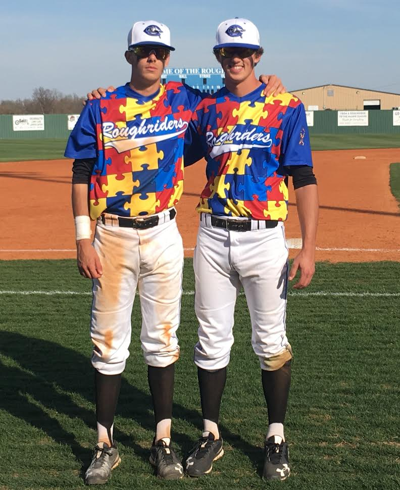 Former VICTORIA EAGLES 3B  KOBE MORRIS (VICTORIA, BC), LEFT, AND OF TYLER DUNCAN  (SOOKE)  of the CROWDER Roughriders.