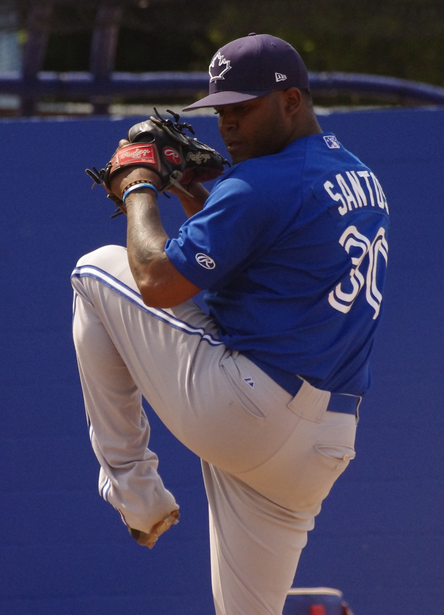 Right-hander Luis Santos posted a 2.70 ERA in 10 appearances for the Toronto Blue Jays in 2017. Photo Credit: Jay Blue
