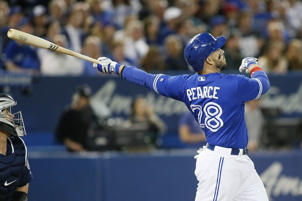 Steve Pearce hit .252 with 13 home runs in 92 games with the Toronto Blue Jays in 2017. Photo Credit: John Sokolowski, USA Today Sports