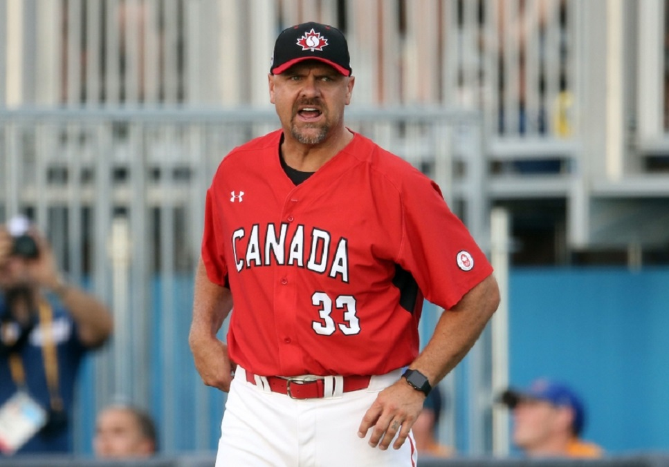 Jul 18, 2015; Toronto, Ontario, CAN; Canada first base coach Larry Walker (33) yells at the baserunner against Puerto Rico during the 2015 Pan Am Games at Ajax Pan Am Ballpark. Canada beat Puerto Rico 7-1 Mandatory Credit: Tom Szczerbowski-USA TODAY Sports