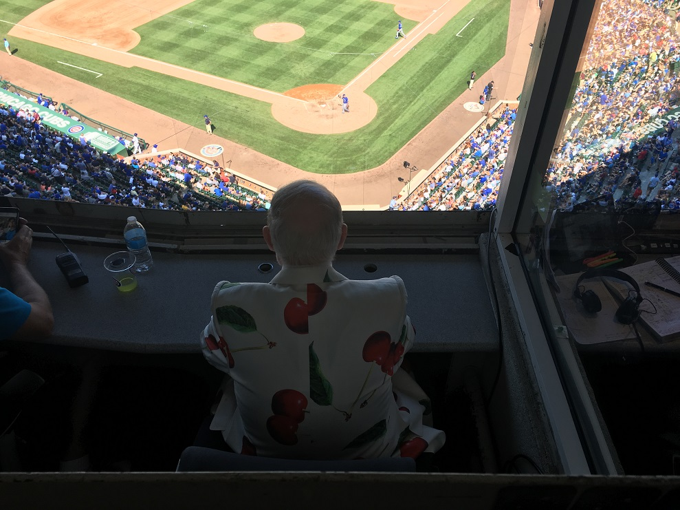 Don Cherry waatching the Cubs host the Blue Jays from the Wrigley Field press box.