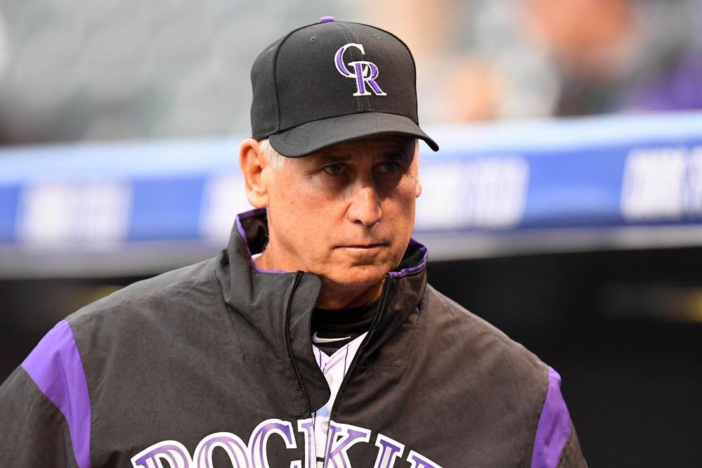 Apr 11, 2017; Denver, CO, USA; Colorado Rockies manager Bud Black (10) looks on before a game against the San Diego Padres at Coors Field. Mandatory Credit: Ron Chenoy-USA TODAY Sports
