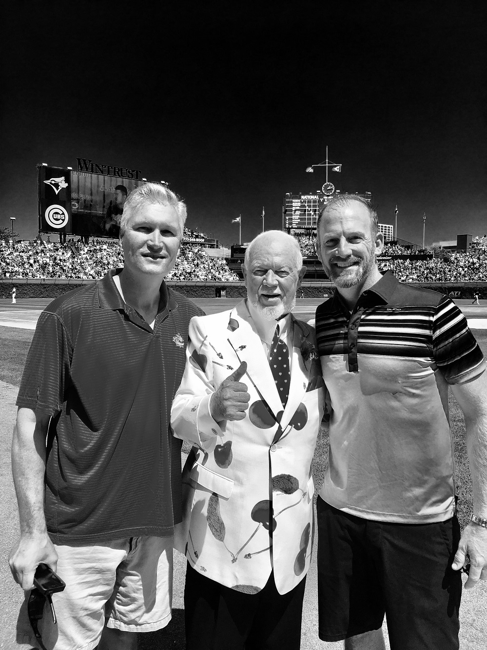 Greg O'Halloran (Mississauga, Ont.), Donald S. Cherry (Kingston, Ont.) and Ryan Dempster (Gibsons, BC) at Wrigley.